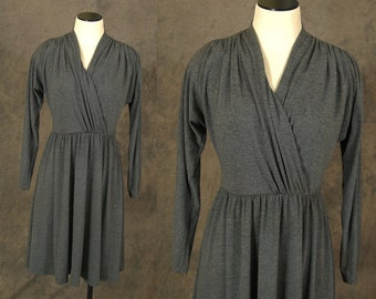 vintage 80s Dress - 1980s Grey Draped Jersey Dress Tshirt Dress Sz M