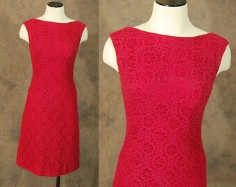 vintage 60s Dress - 1960s Red Wine Lace Wiggle Dress Sz S