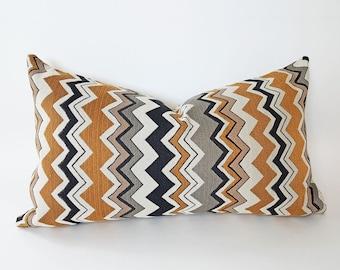 Chevron Lumbar Pillow Covers, Cream Black Gold Modern Pillows, Industrial Throw Pillows, Masculine Home Decor, 12x20, NEW FALL PILLOWS