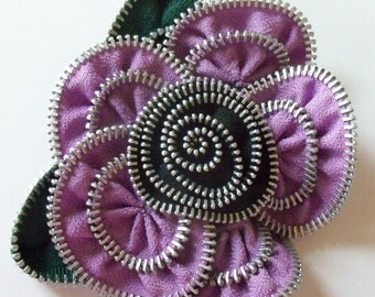 Lavender / Violet and Black Floral Brooch / Zipper Pin - Approx 4 in / 10 cm - by ZipPinning - 2986