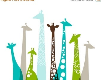 "SHOPWIDE SALE 16X20"" giraffes landscape format giclee print on fine art paper. teal blue, green, taupe, brown."
