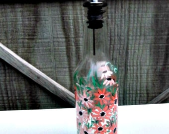 Oil and Vinegar Bottle, Dish Soap Dispenser,  Recycled Clear Beer Bottle, Painted Glass, Peach Flowers
