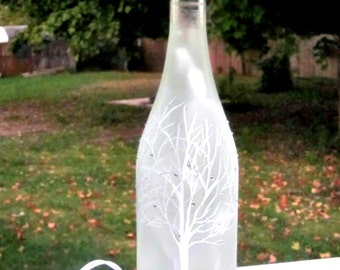 Wine Bottle Light, Night Light, Hand Painted Wine Bottle, White Tree with Sparkles, Frosted Bottle