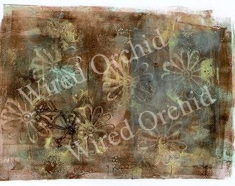 Laser Copy of Original Acrylic Artwork / Lime Green, Brown, Turquoise, Flower Design