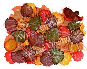 Tropical Burst_Red 2 Laser Copy of Original Alcohol Ink Artwork / Hunter Green, Burgundy, Red, Orange Abstract Design