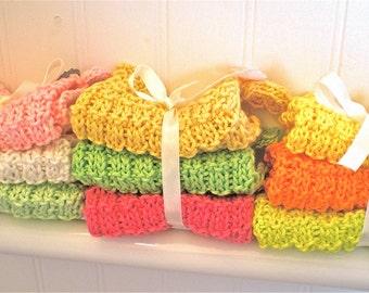 Hand Knit Cotton Waffle Pattern Dishcloths/Set 3 Hand Knit wash cloths/hand knit cloths/hand knit dish cloths/Mercerized Cotton/Hand knitted