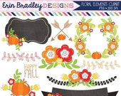 50% OFF SALE Floral Elements Fall Clipart Laurel Wreath Flowers Arrows Pumpkins Labels & More Instant Download Commercial Use Clip Art Digit