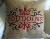 Custom Pillow with Scroll Fleur DeLis