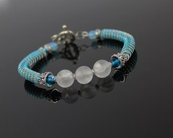 Silver Turquoise Coiled Wire Bracelet, Wire Wrap Bracelet,  Beaded Bracelet, White Quartz Bead Bracelet, Gift for Her