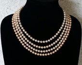 Stunning, Shades of Peachy  Pink & White, Excellent, New Old Stock, 1950's, Faux Pearl, Multi-Strand, Vintage, Wedding Necklace.