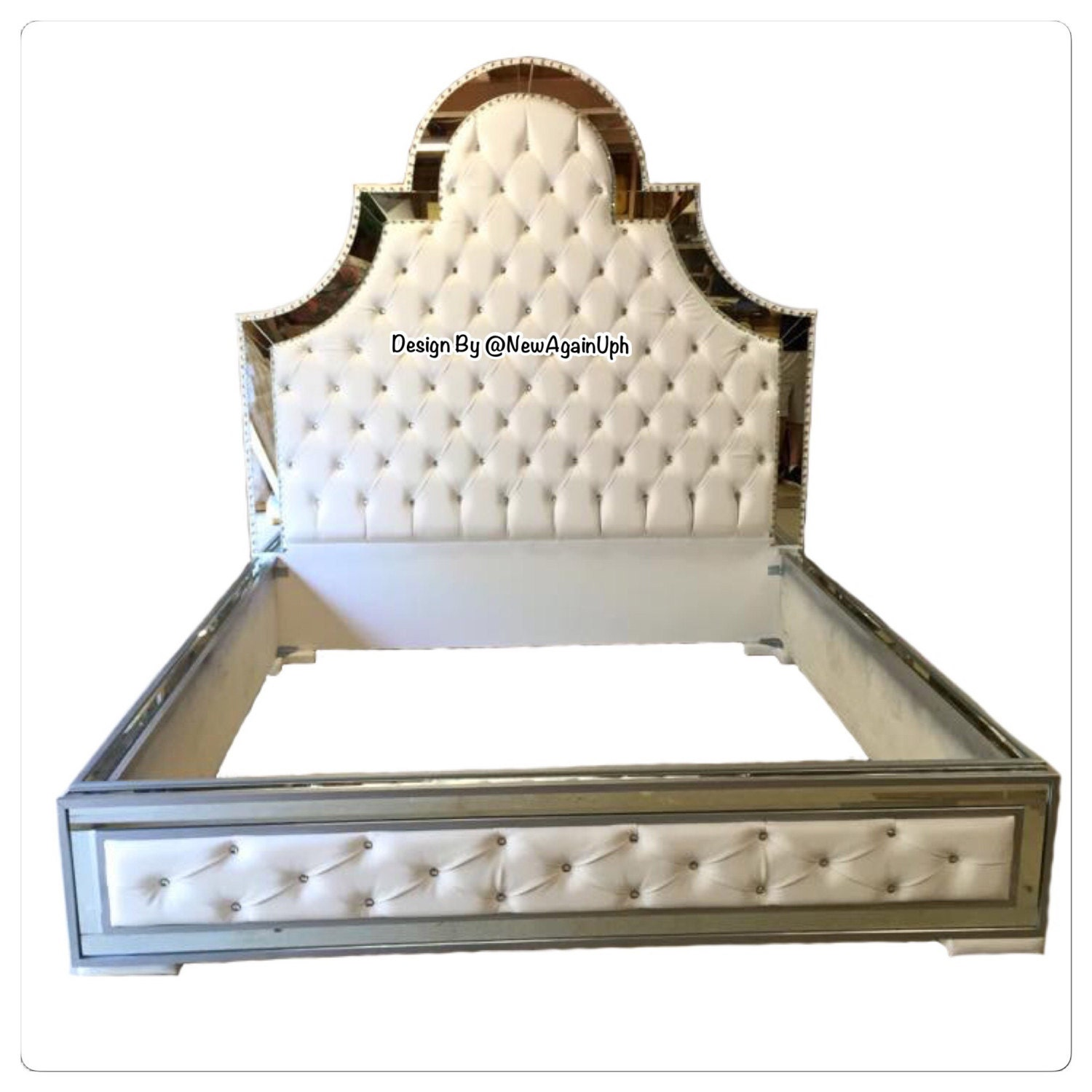 Luxurious Tufted Bed With Mirrors And Rhinestones Luxury