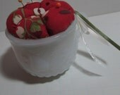 Milkglass Punch cup Pin Cushion, snack set cup upcycle