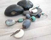 Long Asymmetrical Earrings, Blue and Green, Dangle Earrings, Eclectic Leaf Earrings, Handmade by Gypsy Intent