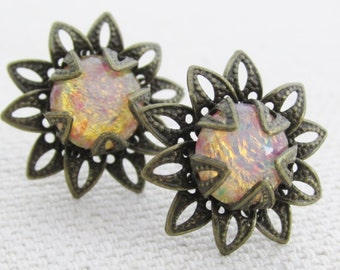 Sun Flower Earring, Glass Opal Flower Stud Earrings, Colorful Floral Post Earrings, Simple Flower Studs