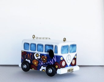 Whimsical Navy Blue VW Bird House Hippy Van , Environmentally Friendly ,Hand Crafted . Hand Painted for the Wild Birds