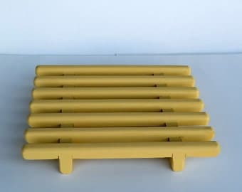 Yellow Handcrafted Pine Trivet , Hot Pad , Table Protector