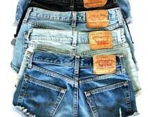 Levi Shorts 501 LEVI'S Denim Cutoff Shorts Tattered Blue 1970s Distressed Highwaist Levi Jean Shorts Cut high or Low Cu