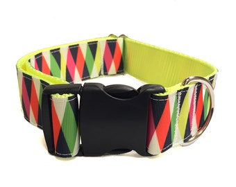 """1.5"""" Colorful Prism Dog Collar or Martingale"""