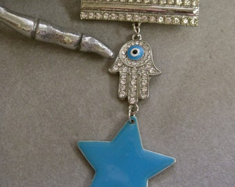 Lucky Star: Hamsa Brooch Evil Eye Rhinestones Large Enamel Turquoise Star Vintage Assemblage Articulated Bar Collar Pin