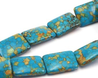 1 Strand Turquoise (25x18mm) Gemstone Square Beads 15.5 Inches T015