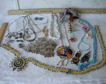 Vintage LOT Native American Southwestern Asst BEAD Work Pieces+Sterling Liquid Silver+Pendants MOST Wearable Some For Re-Use or Re-Invention