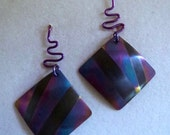 Abstract Anodized Niobium Square Earrings with Matching Sculptural Zigzag Wires