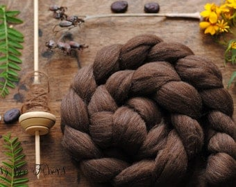 Undyed Natural Brown Merino Combed Top Wool Roving Spinning Felting fiber - 4 oz