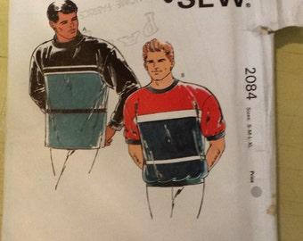 Kwik Sew Mens Long or Short Sleeve Pull Over Shirt Pattern 2084 size  S M L XL Uncut