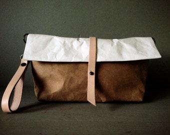 Roll Bag : Tyvek and Kraft clutch paper bag long strap/crossbody bag/leather wristlet with detachable shoulder bag strap