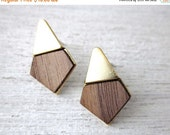 Sale 20% OFF Yoko Earrings, wood veneer posts, geometric studs