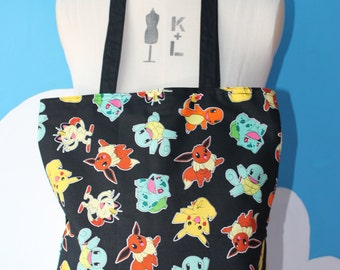 black pokemon - pikachu tote bag