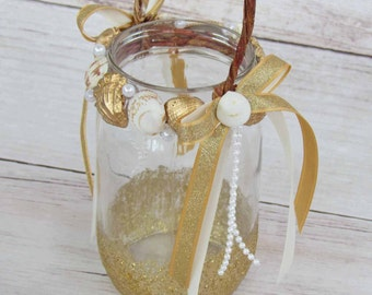 Gold Seashell Lantern for Flower Girl at your Beach/ Nautical Wedding