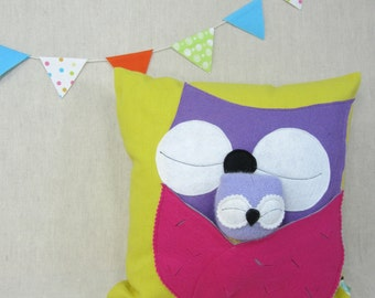 Playful Pillow with Owls - Children, Nursery, Toy, Pillow, Handmade,  Reserved