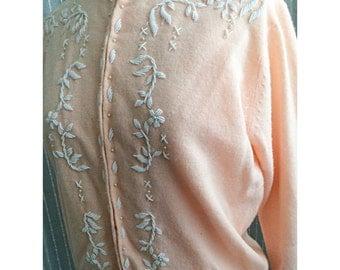 Sale: Vintage beaded pink cardigan sz small