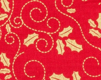 Red Christmas fabric, Cotton, Red background with gold holly vines, Metallic gold Christmas fabric, 1 yard, 15 inches, 44 inches wide