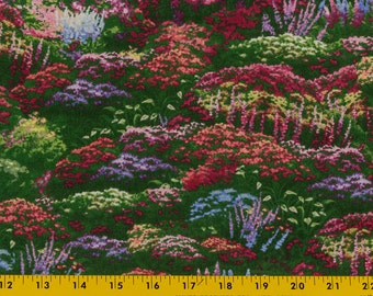 Thomas Kinkade cotton fabric Mounds of flowers touched by light Bright jewel tone colors Sold as one piece, 33 in long, 44 in wide Quilting