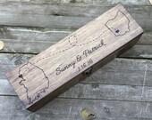 Wedding Wine Box, State to state Wine box, first fight box, wine box ceremony, custom state wine box, wedding gift, anniversary, wood box