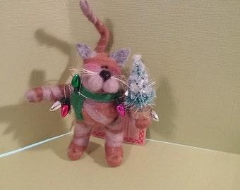 Christmas Kitten Felted Wool Ornament - NEW for 2016