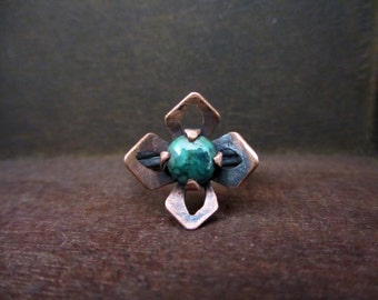 Green turquoise flower ring, Turquoise copper and sterling silver ring