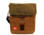 Waxed Canvas Satchel / Moss Tweed Recycled Wool & Oiled Leather