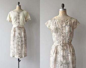 Featherlight dress & sweater | vintage 1950s dress and cardigan | printed silk 50s dress