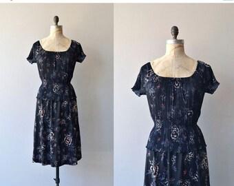 25% OFF.... Night Bloom dress   vintage 1970s dress   black floral 70s dress