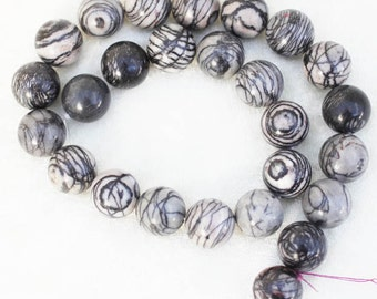 """Spider Web Jasper Round Beads - 12"""" Strand of 16mm Black and Gray Beads - for Wealth and Prestige"""