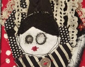 Witchie Witch handmade fabric collage Halloween doll wall hanger on vintage lace