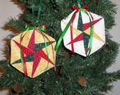 Handmade Quilted Ornaments, Hanging  Scrappy Star, Peg Shelf, Door Knob Hanger, Holiday, Christmas, Tree Decoration