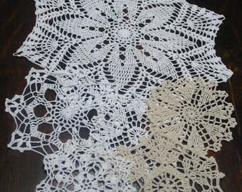 "lot of 14 Hand Crochet Doily 5""-7""-15"" RD for Cottage/Victorian/Shabby/Boho/French Style,Tea Party, Vintage Wedding, Free USA shipping"