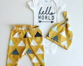 Newborn Baby Boy Coming Home Outfit, Boys Clothing, Pants Shirt with Matching Hat, Arrows, Tribal, Mustard, Hello World