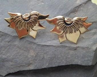 Vintage Laurel Burch Pierced Sunflower Earrings