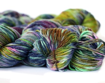 Zombie 231 yards on 'Glitter' DK Yarn/ 3 ply merino wool yarn, handpainted sprinkle