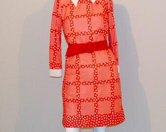 Vintage Dress 1970's Modern Red